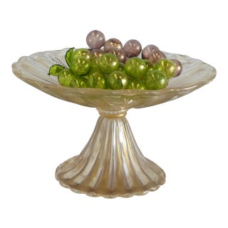 Enormous Italian Murano Glass Footed Bowl and Fruits For Sale