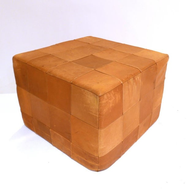 De Sede Patchwork Cube or Ottoman in Beautiful Patinated Cognac Leather For Sale In New York - Image 6 of 7