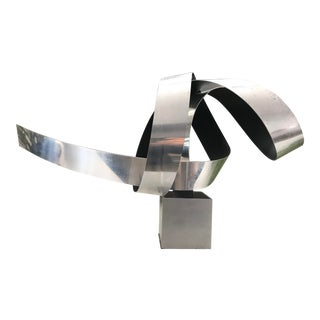 Vintage Mid Century Modern Aluminum Ribbon Abstract Sculpture For Sale