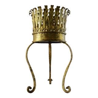 Hollywood Regency Italian Florentine Gold Gilt Tole Pedestal Plant Stand For Sale