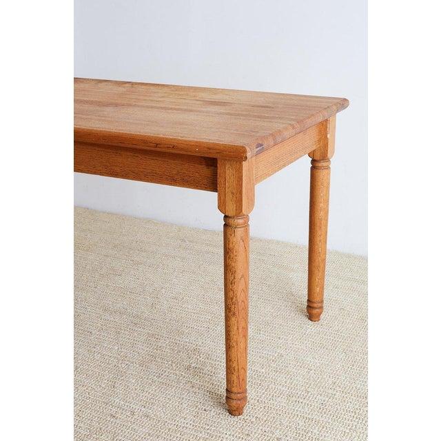 American Oak Butcher Block Style Farm Table For Sale - Image 12 of 13