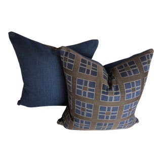 Mid-Century Modern Brunschwig & Fils Fabric Pillows - Set of 2 For Sale