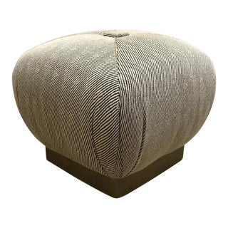 Karl Springer Style Brass Plinth Pouf Marge Carson For Sale