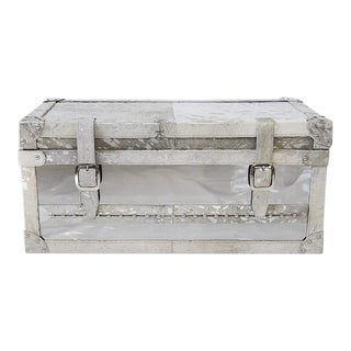 Forest Collection Steel and Cowhide Silver Trunk For Sale