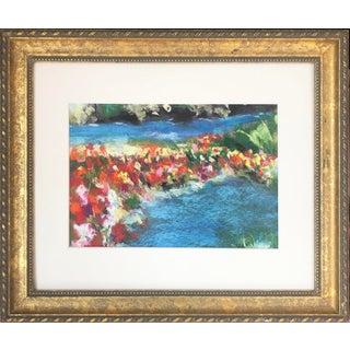 Vintage Pastel Impressionist Landscape Drawing River With Flowers For Sale