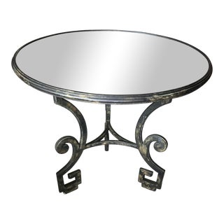 1980s Hollywood Regency Round Iron and Mirror Greek Key Accent Table For Sale