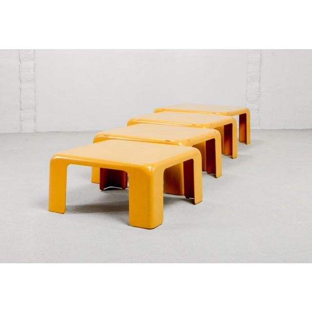 Mario Bellini Mid-Century Yellow Set of Quattro Gatti Side Tables by Mario Bellini for C&b Italia, 1960s For Sale - Image 4 of 12
