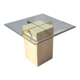 Vintage Artedi Travertine Side Table With Brass and Glass For Sale