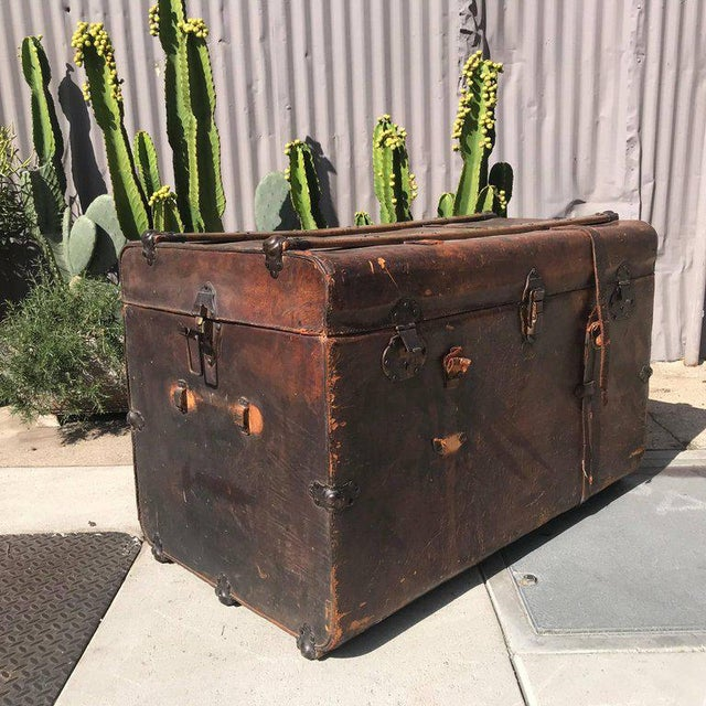 Antique Leather and Wood Trunk, Circa 1890 For Sale - Image 10 of 12