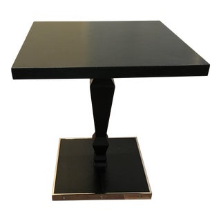 Cartier Style Black Oak & Nickel Dizzy Cocktail / End Table For Sale