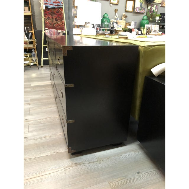 Lane Furniture Late 20th Century Black Campaign Style Wide Dresser For Sale - Image 4 of 13