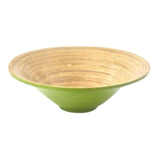Green & Natural Spun Bamboo Serving Bowl For Sale