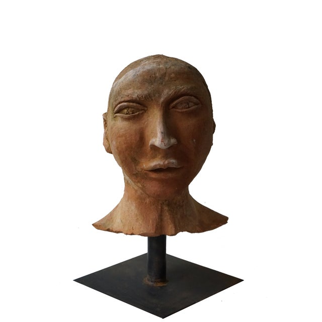 Terra Cotta Vintage Terra Cotta Bust on Iron Stand For Sale - Image 8 of 8