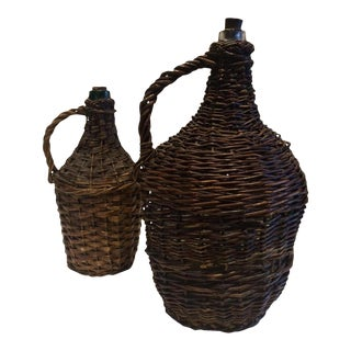 20th Century French Demijohn Wicker Bottles - a Pair For Sale