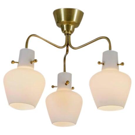 Three shaded Hans Bergstrom flushmount chandelier for Lyktan, Sweden, 1940s For Sale