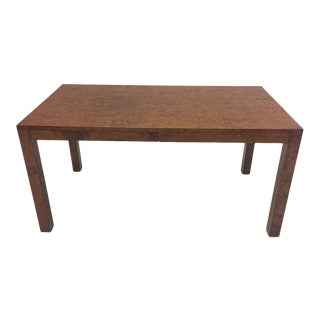 Mid Century Modern Milo Baughman Style Burled Olive Wood Desk For Sale