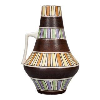 Mid Century Op Art Striped Pot with Handle