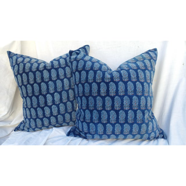 Faded Indigo Velvet Pillows - A Pair - Image 2 of 6