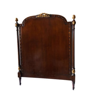 1960s French Style Ornate Twin Walnut Carved Headboard For Sale