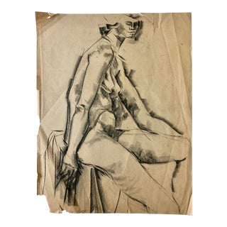 Mid-Century Charcoal Cubist Female Nude For Sale