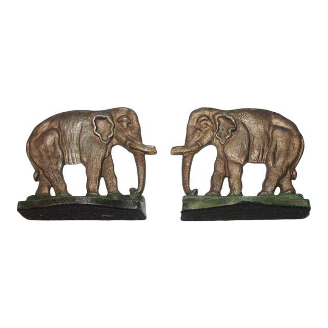 Pair of Original Painted Iron Elephant Bookends For Sale