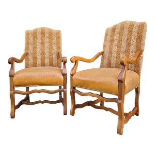 Vintage French Country Oak/Leather Arm Chairs - a Pair For Sale