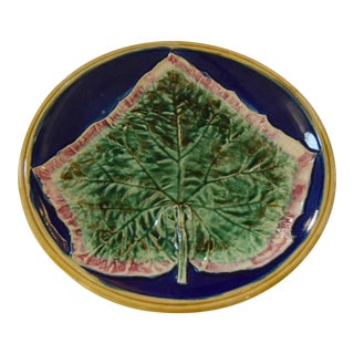 19th-Century Majolica Round Oak Leaf For Sale