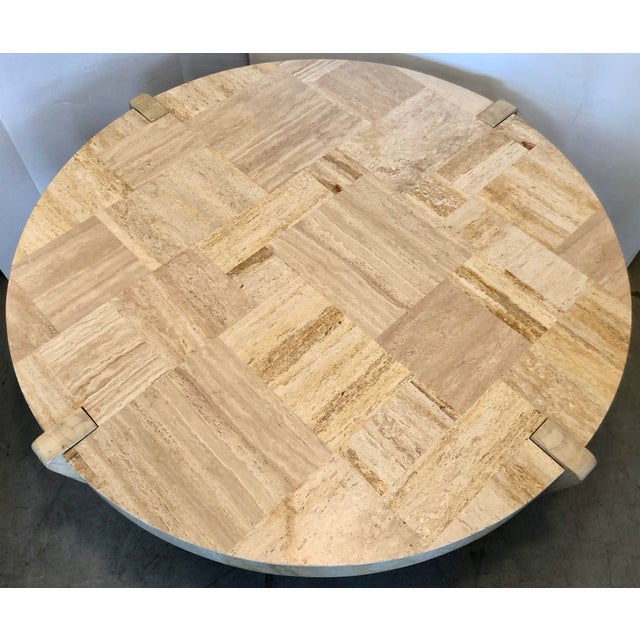 Contemporary Travertine & Wood Coffee Table For Sale - Image 3 of 6