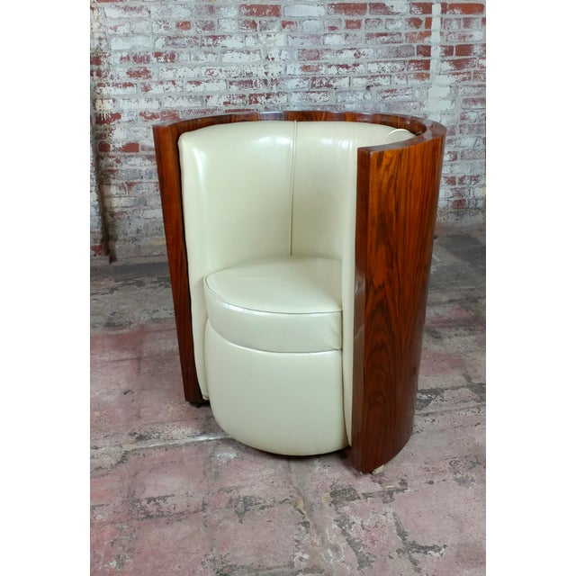 Art Deco Fabulous Burl Walnut Barrel Chairs W/White Leather Seats-A Pair For Sale In Los Angeles - Image 6 of 10