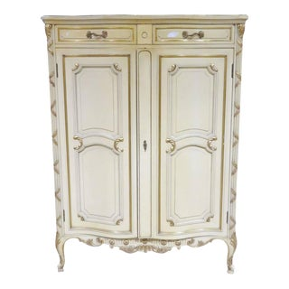 Louis XVI Style Distressed Cream Painted & Gilt Chest For Sale