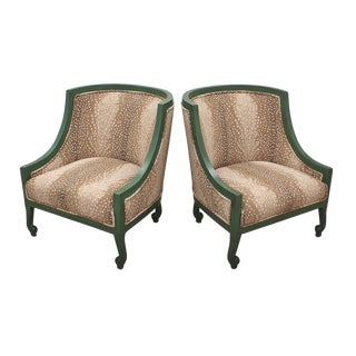 Mid Century Green and Antelope Print Bergeres- a Pair For Sale