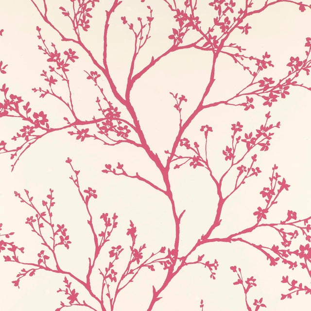 Contemporary Schumacher Twiggy Wallpaper in Raspberry For Sale - Image 3 of 3