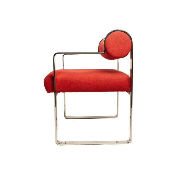 Mid-Century Modern Gastone Rinaldi Style Modern Chrome Armchairs- A Pair For Sale - Image 3 of 5