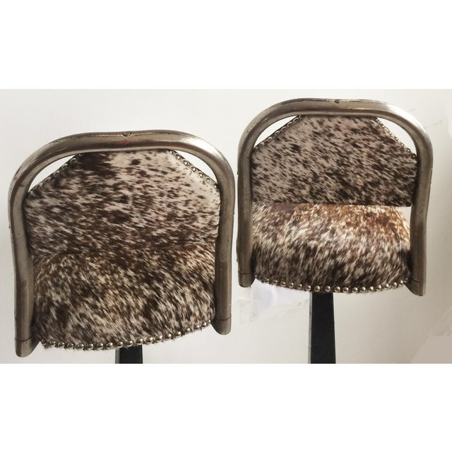 Vintage Stools - Chrome & Hide - a Pair - Image 4 of 6