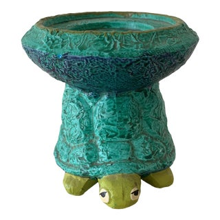 Midcentury Turtle Ceramic Candleholder For Sale
