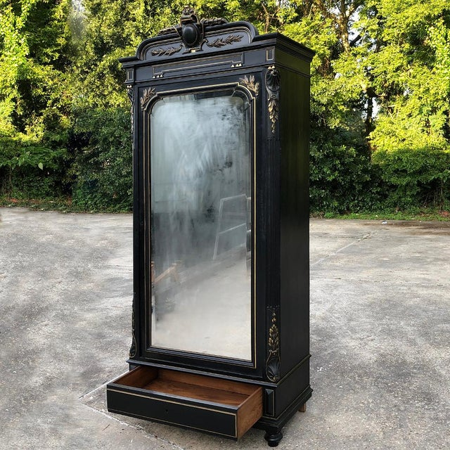 19th Century French Napoleon III Ebonized Armoire For Sale - Image 4 of 13