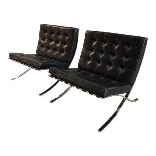 Black Leather Barcelona Chairs, a Pair For Sale