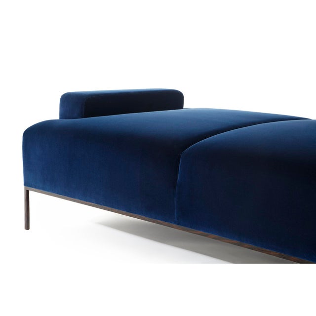 Mid-Century Modern Velvet Channel Tufted Wood Wenge Base Stiletto Daybed For Sale - Image 3 of 6