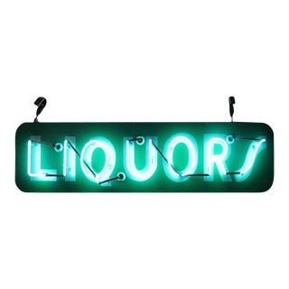 "1950s Neon ""Liquors"" Sign For Sale"