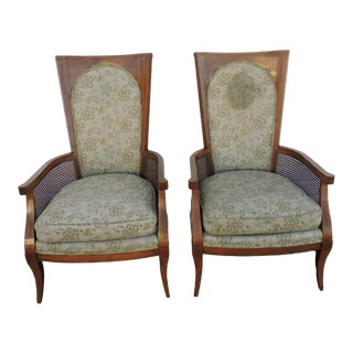 Mid Century Pair of Tall Caned Living Room Side Chairs by Thomasville For Sale