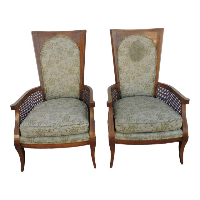 Mid Century Pair of Tall Caned Living Room Side Chairs by Thomasville