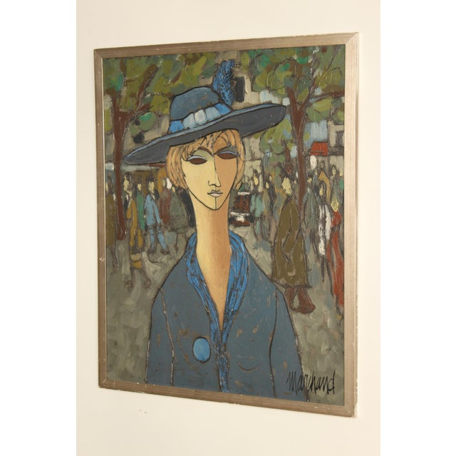 Contemporary Painting of a Lady in Blue by Philippe Marchand For Sale - Image 3 of 13