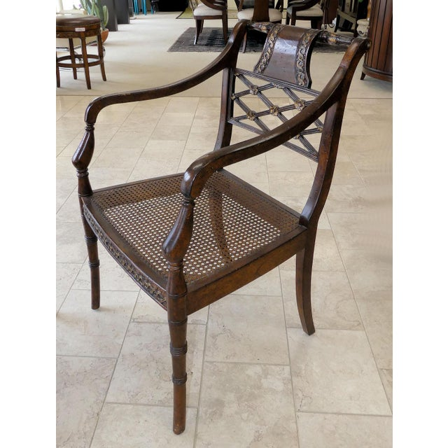 John Richard Traditional Cane Seat Regency Armchairs- a Pair For Sale In Miami - Image 6 of 13