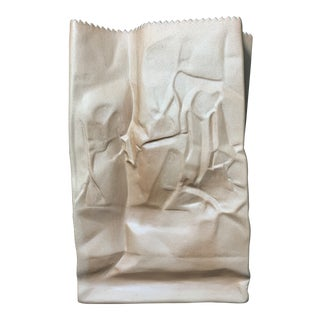 Vintage Tapio Wirkkala for Rosenthal Porcelain Brown Paper Bag Vase For Sale