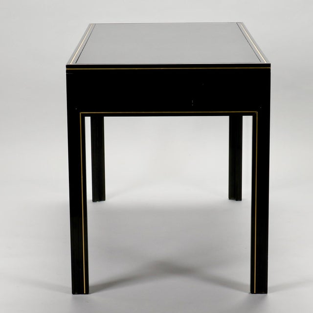 Pierre Vandel French Black Lacquered and Brass Desk For Sale - Image 9 of 11