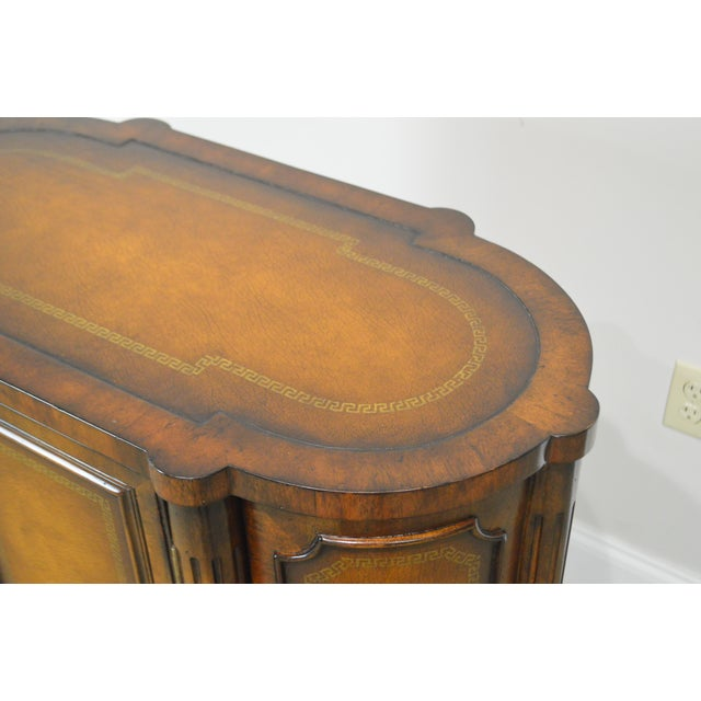 John Richards Regency Style Mahogany Leather Wrapped Console Cabinet For Sale - Image 4 of 12