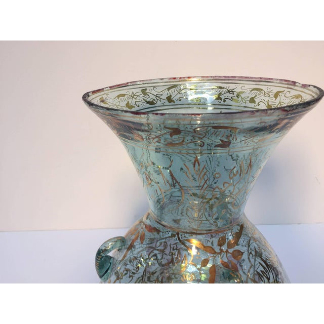 Handblown Mosque Glass Lamp in Mameluk Style Gilded With Arabic Calligraphy For Sale - Image 4 of 10