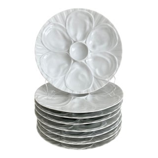 French Porcelain Oyster Plates - Set of 8 For Sale