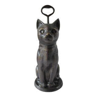 Brass Sitting Cat Doorstop With Handle For Sale