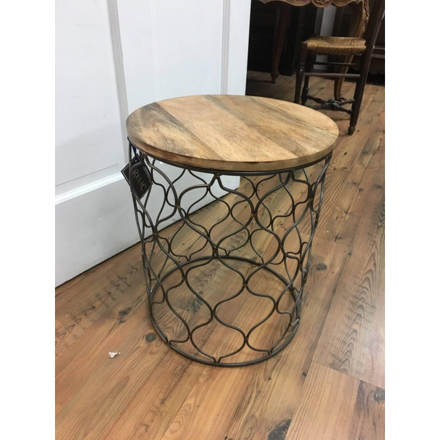 Anglo-Indian Iron Arabesco Side Table with Mango Wood Top For Sale - Image 3 of 12